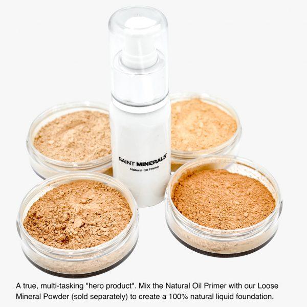 natural oil primer and loose mineral powder