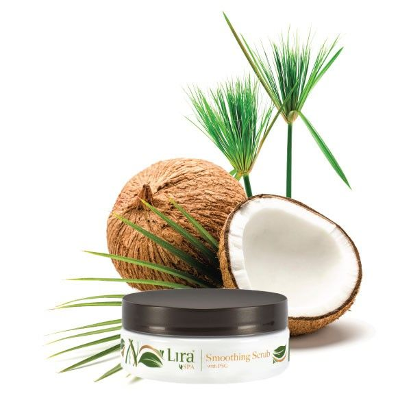 smoothing scrub with coconuts